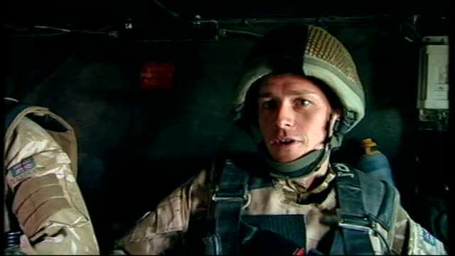 staff sergeant gareth wood interview sot wood in vehicle as along to site of suspect ied soldier telling reporter that tank has stopped because of... - sergeant stock videos & royalty-free footage