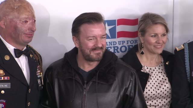 staff sgt robert henline us army nycf veterans airlift command ricky gervais and guests at the 6th annual stand up for heroes presented by the new... - beacon theatre stock videos and b-roll footage