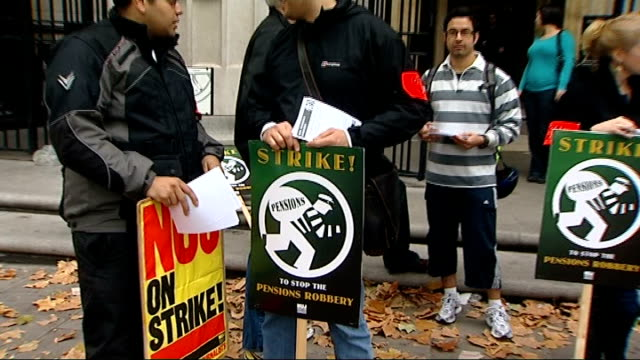 staff take industrial action over pensions: general views picket line outside bush house; england: london: aldwych: bush house: ext general views... - strike industrial action stock videos & royalty-free footage