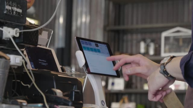 staff touch screen monitor of cash machine - sales occupation stock videos and b-roll footage