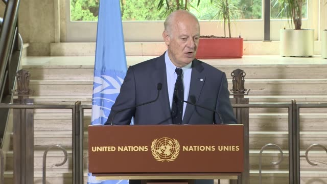 staffan de mistura the un special envoy to syria gives a speech during a press conference after iternational syria support group's humanitarian... - united nations stock videos & royalty-free footage