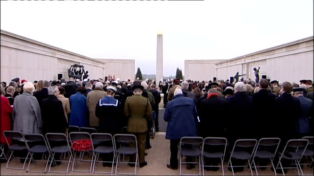 near lichfield national memorial arboretum armed forces memorial last post played at armistice day service prince edward looking at remembrance wall... - lichfield stock videos & royalty-free footage