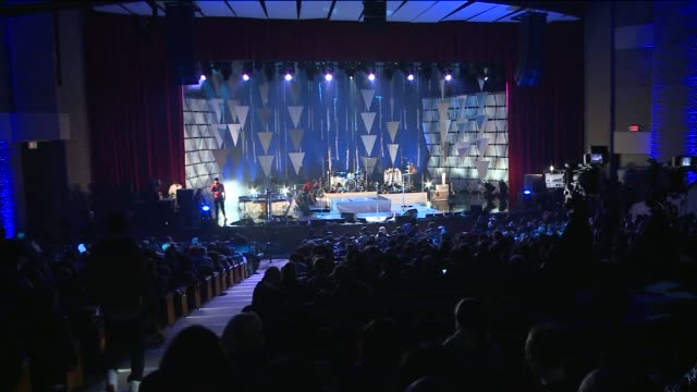 stage and crowd are prepped for concert at kupferberg center for the arts queens college on in new york city - microphone stock videos & royalty-free footage
