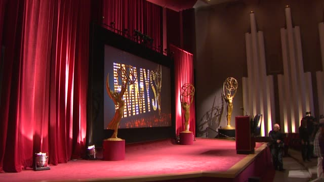 stage at 65th primetime emmy awards nominations announcement. atmosphere - stage at 65th primetime emmy awards n at leonard h. goldenson theatre on... - emmy awards nominations stock videos & royalty-free footage