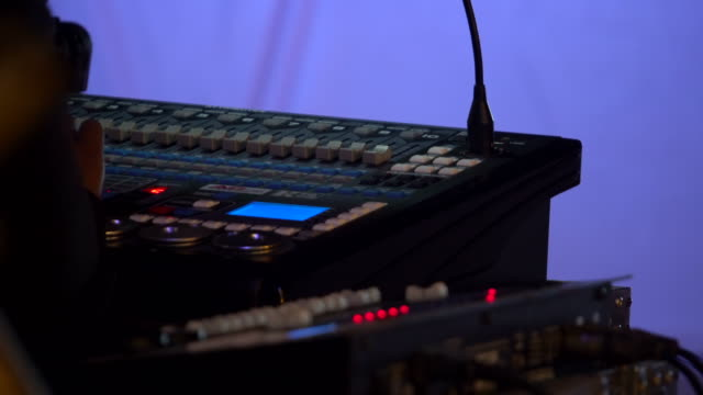 stage audio control panel in the dark - broadcasting stock videos and b-roll footage