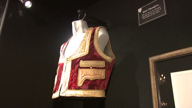 vídeos y material grabado en eventos de stock de stage costume owned by jimi hendrix at the spinal tap announce classic rock roll of honour nominations at london england - jimi hendrix