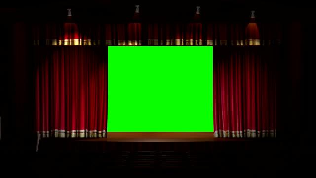 vídeos y material grabado en eventos de stock de cortina de escenario apertura - pantalla de proyección