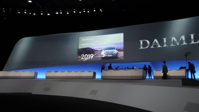 stage of the annual daimler ag shareholders meeting on may 22, 2019 in berlin, germany. daimler has struggled with falling sales in its mercedes-benz... - annual general meeting stock videos & royalty-free footage