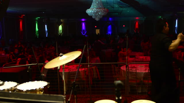 stage point of view in the mirage banquet hall before the appearance of el gran combo de puerto rico on march 29 in toronto, ontario, canada. the... - banquet hall stock videos & royalty-free footage