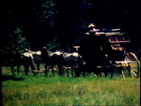 1978 ms stagecoach being pulled by horse team / united states - 1978 stock videos & royalty-free footage