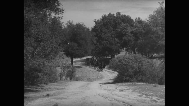 stockvideo's en b-roll-footage met ws stagecoach riding along dirt road / united states - koets
