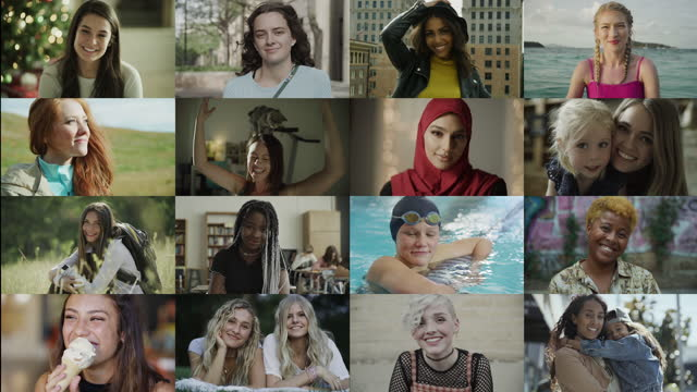 staggered opening of sixteen panels of portraits of diverse confident women / cedar hills, utah, united states - video collage video stock e b–roll