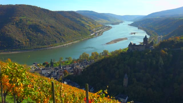 stahleck castle and rhine river, bacharach, rhineland-palatinate, germany, europe - rhein stock-videos und b-roll-filmmaterial