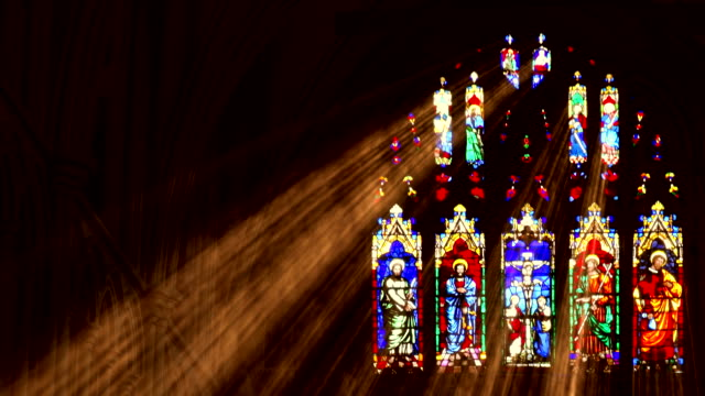 stain glass light rays - cristianesimo video stock e b–roll