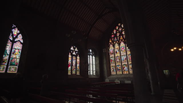 stained glass in church - ireland - catholicism stock videos & royalty-free footage
