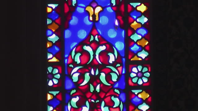 CU PAN Stained glass in Turkish mosque, Istanbul, Turkey