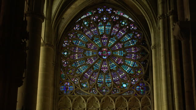 Stained glass window in a gothic Cathedral