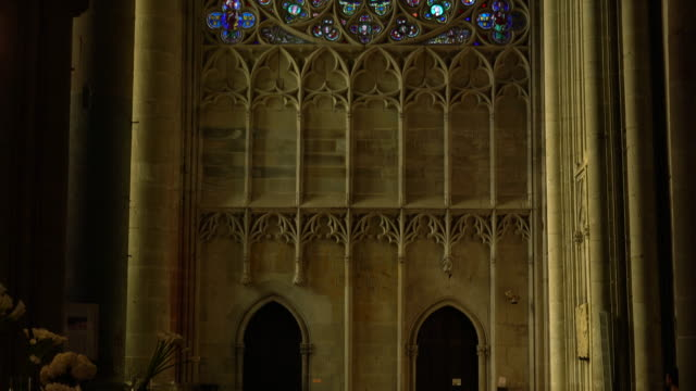 stained glass window in a gothic cathedral - carcassonne stock videos and b-roll footage