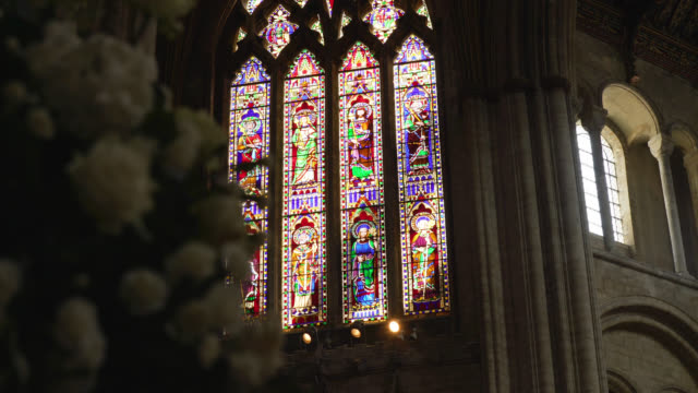 stained glass window in ely cathedral - church stock videos & royalty-free footage