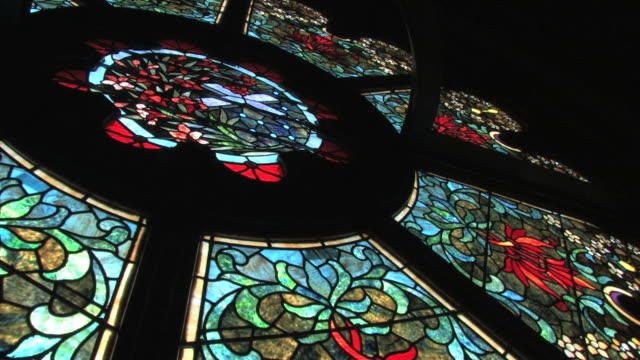 stained glass window in hd - cathedral stock videos & royalty-free footage