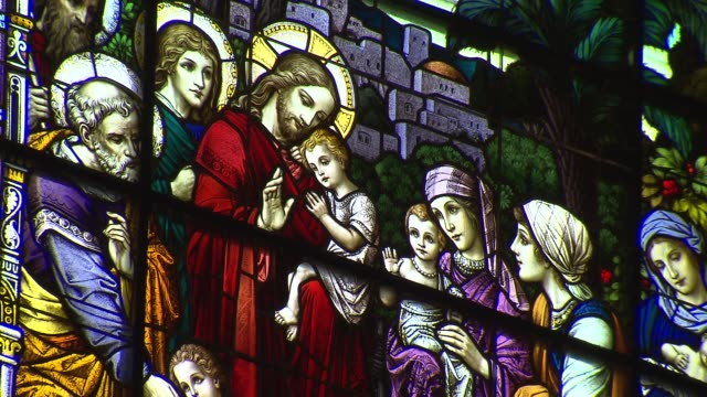 stained glass windows in church - congregation stock videos & royalty-free footage