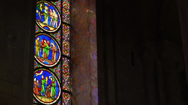 stained glass windows in ely cathedral - refraction stock videos & royalty-free footage