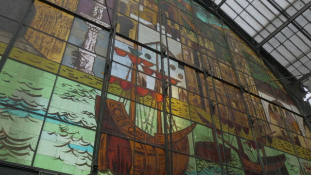 stained glass windows of mercado central de atarazanas, malaga, andalucia, spain, europe - craft product stock videos and b-roll footage