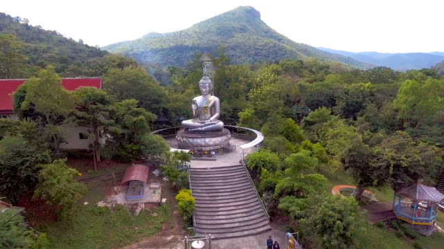 stainless steel buddha among green forest in remote area, aerial video - pagoda stock videos & royalty-free footage