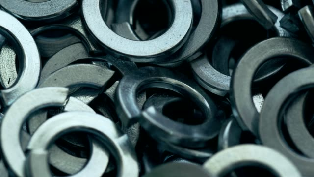 stainless steel grower washers - steel stock videos & royalty-free footage