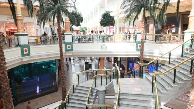 staircase and palm trees inside the trafford centre shopping mall, operated by intu properties plc, in manchester, u.k., on tuesday, sept. 15, 2020.... - palm tree stock videos & royalty-free footage