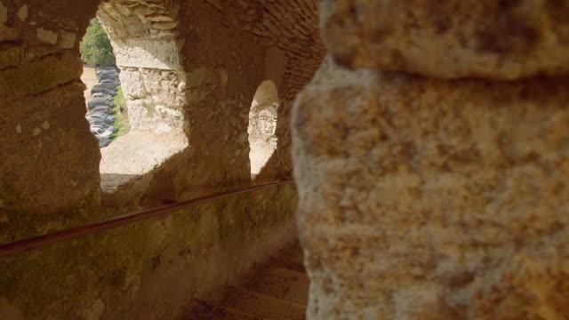 vídeos de stock, filmes e b-roll de stairs at bonifacio fortress, calvi corsica, dolly shot - calvi
