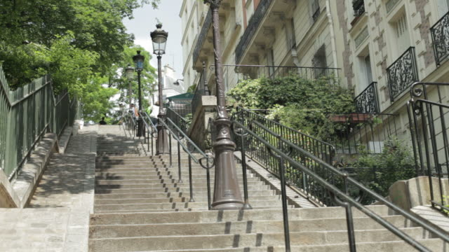 stairs at montmartre, paris - railings stock videos & royalty-free footage