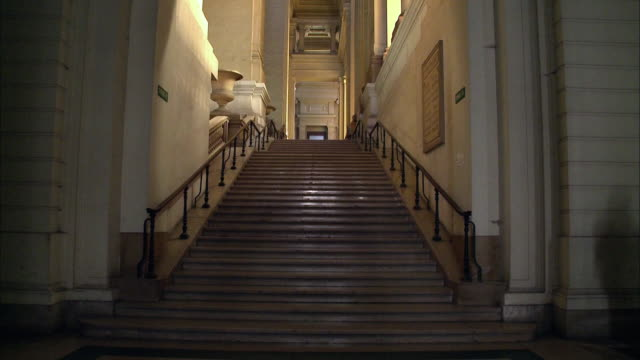 ms, tu, stairs in courthouse, brussels, belgium - courthouse stock videos & royalty-free footage