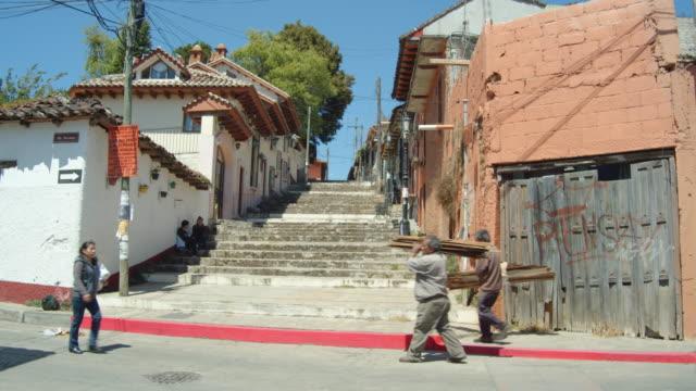 stairway in a neighborhood in san cristobal de las casas, chiapas, mexico - tourism stock videos & royalty-free footage