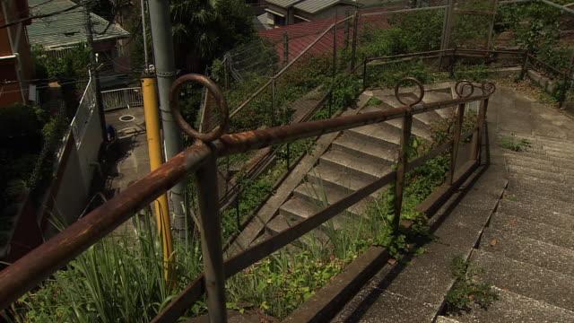 stairway in yokohama, kanagawa, japan - steps and staircases stock videos & royalty-free footage