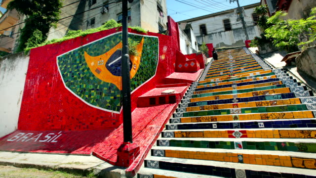 stairway selaron, rio de janeiro, brazil - steps and staircases stock videos & royalty-free footage