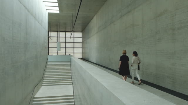 a stairwell leads down inside the nearlycompleted james simon gallery on july 01 2019 in berlin germany the james simon gallery designed by architect... - museum stock-videos und b-roll-filmmaterial