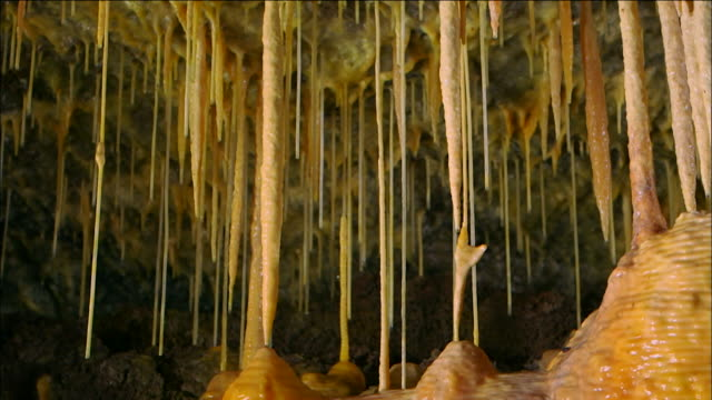 vídeos de stock, filmes e b-roll de stalactites hanging inside dangcheomul cave (unesco world natural heritage site), jeju island - stalactite