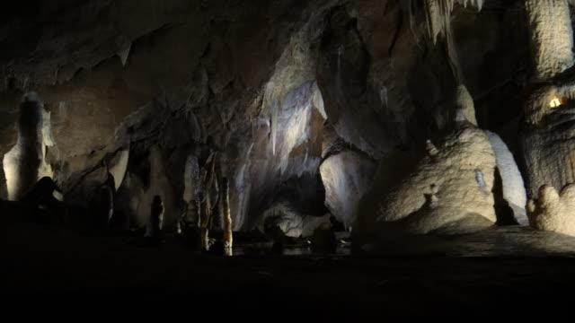 Stalagmites and stalactites in interior of Punkva caves / Blansko, Czech Republic
