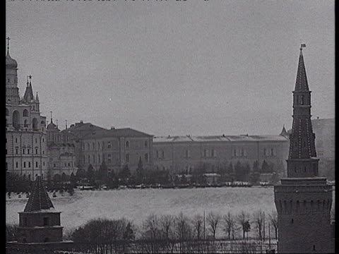 stalin funeral march procession, street parade at red square during winter / moscow, russia - 1953 stock videos & royalty-free footage