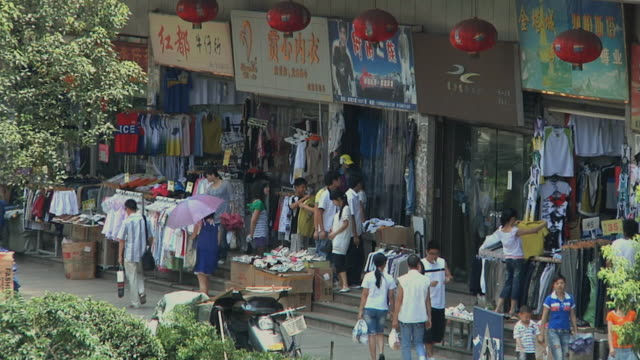 ws ha stalls selling clothes / wenzhou, zhejiang, china - zhejiang province stock videos & royalty-free footage