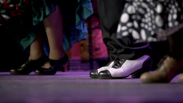 m/s stamping feet of flamenco dancers (man and women, live performance) - flamenco stock videos & royalty-free footage