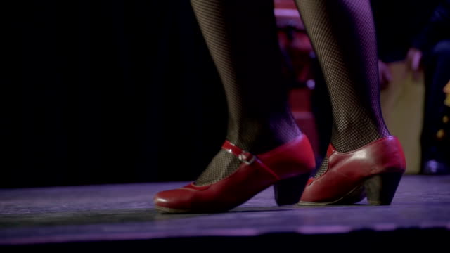c/u stamping feet of professional flamenco dancer (woman, live performance) - high heels stock videos & royalty-free footage