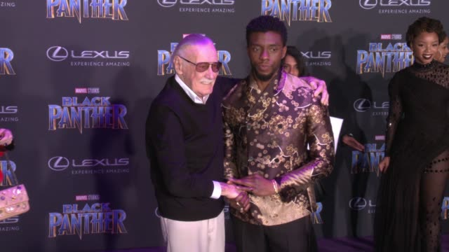 Stan Lee and Chadwick Boseman at the Marvel Studios' 'Black Panther' World Premiere at Dolby Theatre on January 29 2018 in Hollywood California