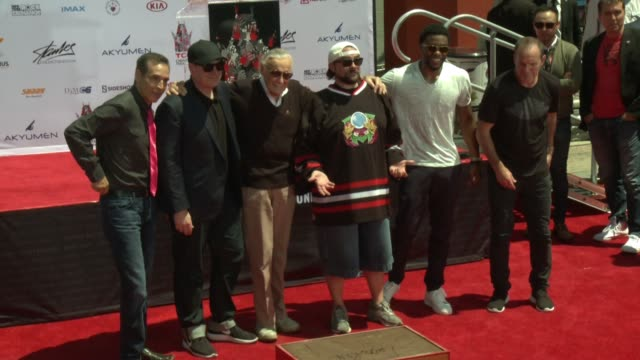 stan lee chadwick boseman james gunn clark gregg kevin feige todd mcfarlane at marvel comics legend stan lee's hand footprint ceremony at tcl chinese... - chadwick boseman stock videos and b-roll footage