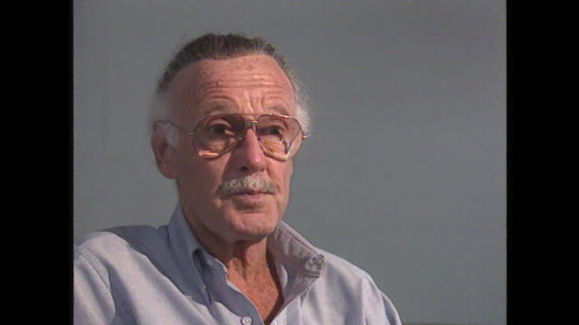 stan lee talks about how he came up with the concept and name for 'spiderman' - 作品名 ファンタスティック・フォー点の映像素材/bロール