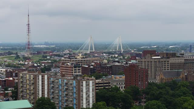 stan musial veterans memorial bridge beyond st louis cityscape - aerial shot - st. louis missouri stock videos & royalty-free footage