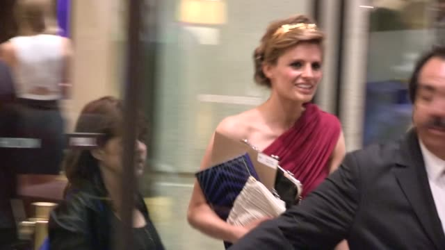 stana katic greets fans while departing the 2013 women in film awards in beverly hills 06/12/13 - stana katic stock videos and b-roll footage