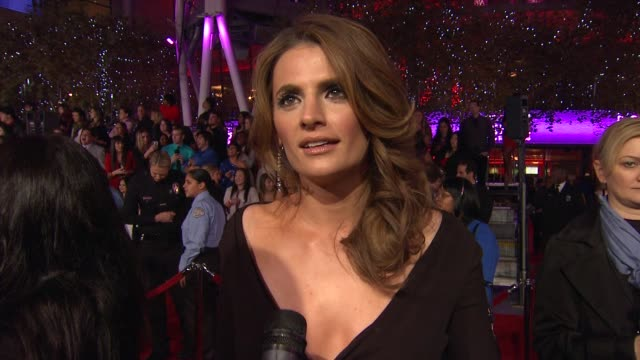 stana katic on her dress on being nominated and on what's coming up on the show at 2012 people's choice awards arrivals on 1/11/12 in los angeles ca - stana katic stock videos and b-roll footage