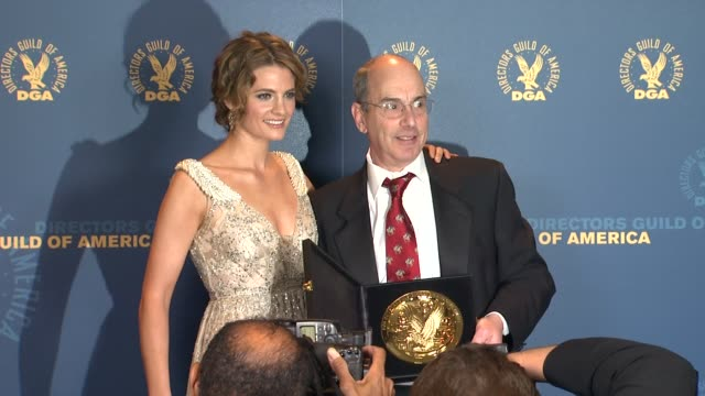 stana katic william ludel at 64th annual dga awards press room on 1/28/12 in los angeles ca - stana katic stock videos and b-roll footage